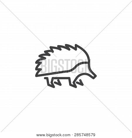 Porcupine Side View Line Icon. Linear Style Sign For Mobile Concept And Web Design. Porcupine Rodent
