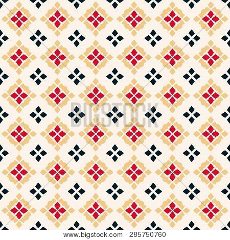 Vector Geometric Seamless Pattern. Traditional Folk Ornament. Texture With Small Rhombuses, Flower S