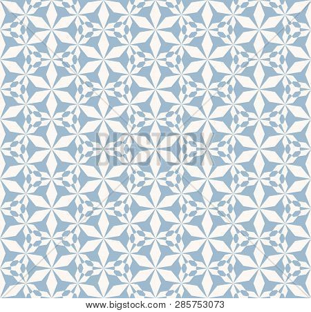 Vector Abstract Geometric Seamless Pattern. Elegant Blue And White Texture With Floral Silhouettes,