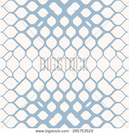 Vector Geometric Halftone Seamless Pattern With Mesh, Grid, Net, Curved Fading Lines. Light Blue And