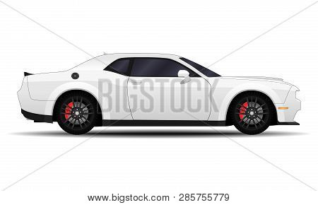 Realistic Car. Muscle Car. Side View. Sport Transport
