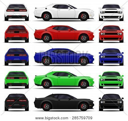 Realistic Car. Muscle Cars Set. Side View, Back View, Front View.