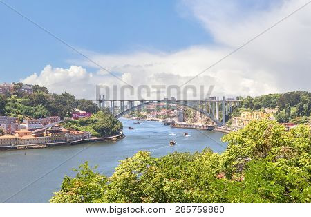 Porto, Portugal - June 16, 2018:  View Of The Douro River From The Cristal Palace Gardens Or Jardins