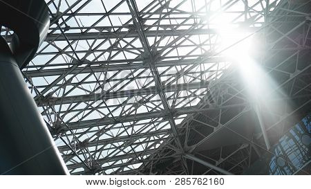 Steel Structure Workshop In Construction, Steel Frame Factory Building Closeup