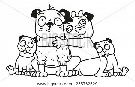 Coloring page portrait of a pug family with father, mother and children