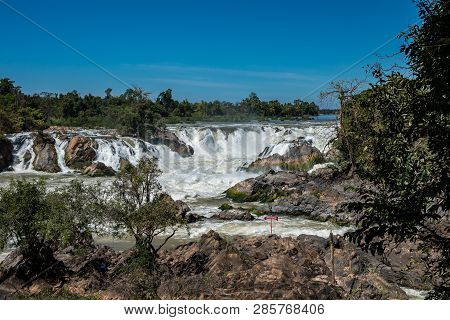 Khone Phapheng Falls At Champasak Province On The Mekong River In Southern Laos. The Waterfall Have