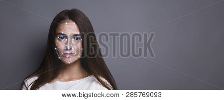 Biometric Verification. Facial Recognition Of Young Woman Via Polygon Mask On Face, Panorama With Co
