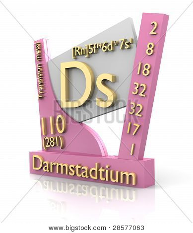 Darmstadtium form Periodic Table of Elements - 3d made poster