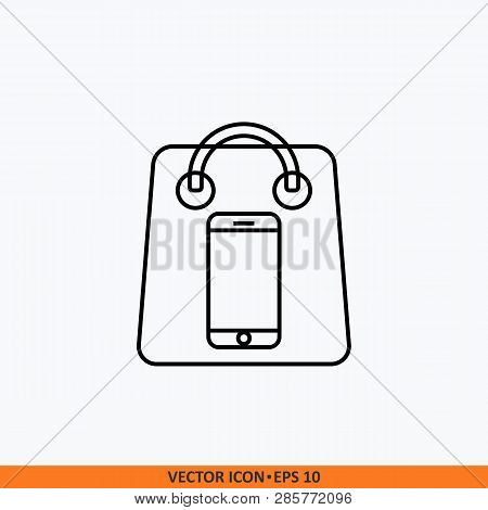 Vector Icon Shopping Online With Shop Bag And Mobile Phone.