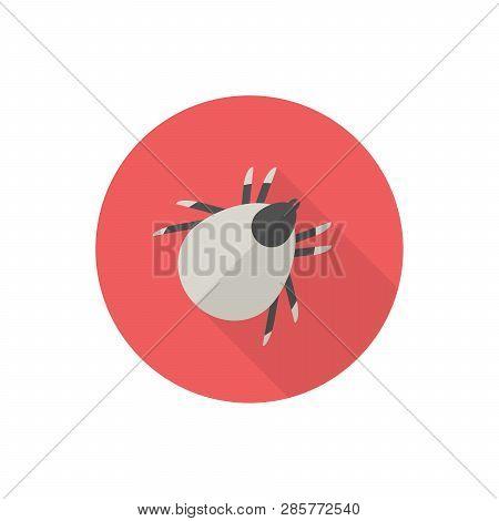 Castor Bean Tick Icon. Flat Design, Red Background. Vector Illustration