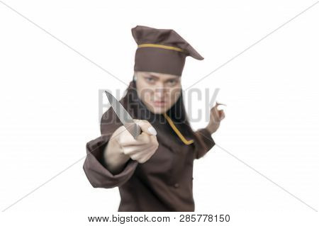 blurred enraged woman chef threatens with a knife, isolated on white background poster
