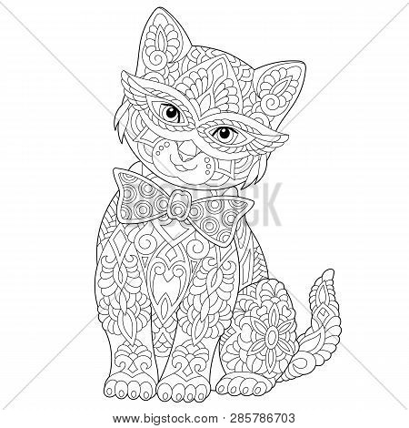 Coloring Page. Coloring Book. Anti Stress Colouring Picture With Cat. Freehand Sketch Drawing With D