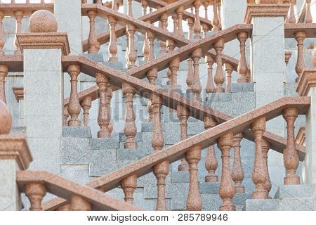 Grand Stone Stairs Leading To Church In Vitebsk, Belarus , Europe.