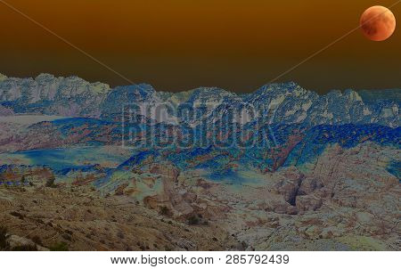 surreal desert landscape - Aaron Mountain  brother of Moses- is the holiest site in Petra and one of the holiest in Jordan poster