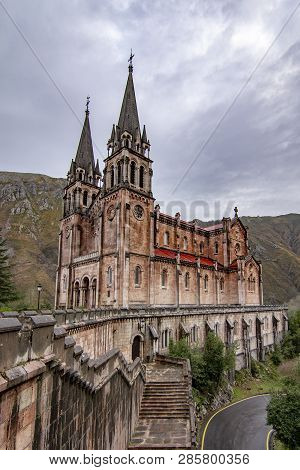 Covadonga, Asturias, Spain; January 2016: Vieew Of The Basilica Of Santa Maria La Real De Covadonga