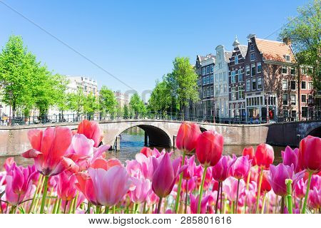Historical Houses Of Amsterdam Over Canal Ring Landmark In Old European Citye, Holand Netherlands. A