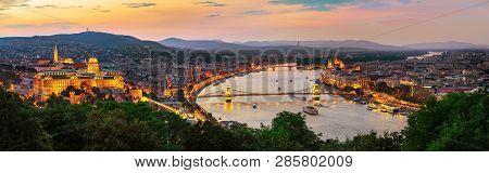 Illuminated Hungarian Capital City In Summer Evening