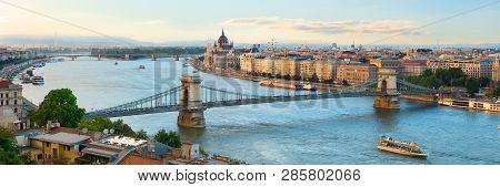 Summer Evening Over Landmarks In Budapest, Hungary