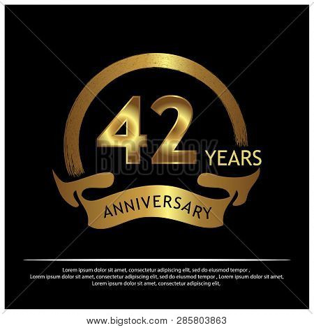 Forty Two Years Anniversary Golden. Anniversary Template Design For Web, Game ,creative Poster, Book