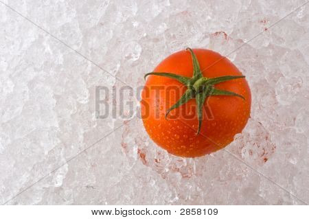A Red Ripe Tomato On A Bed Of Ice