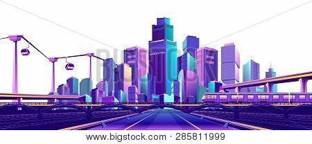 The Futuristic Resort Town Is Illuminated With Neon Color And, Traffic, Roads, Bridges, Estokadas An