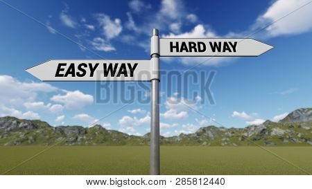 Way Choice Showing Strategy, Easy Way Hard Way, 3d Rendering