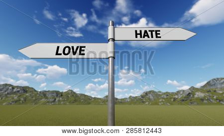 Way Choice Showing Strategy, Love Hate, 3d Rendering