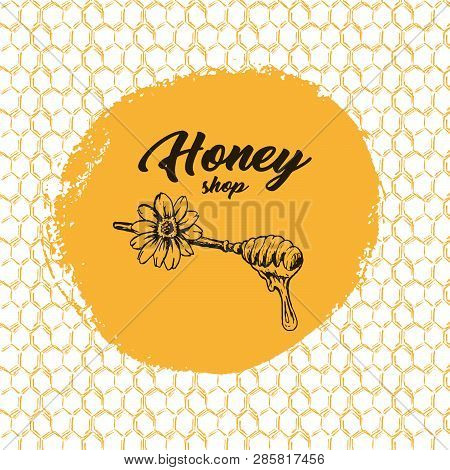 Honey Bee, Sketch Logo Design With Honeycomb Pattern. Vintage Hand Drawn Isolated Illustration With