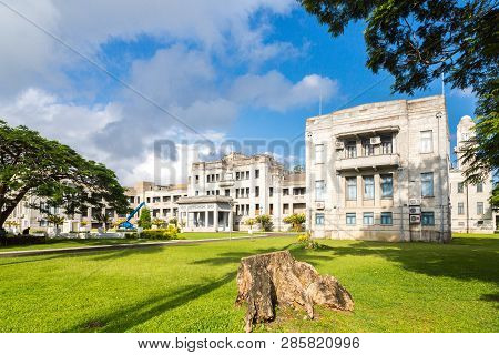 Suva, Fiji - 30 Dec 2014: Government Buildings In Suva. Executive Wing Of Fiji Government Offices. P