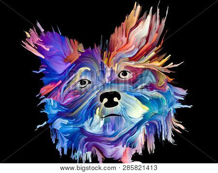 Dog face painting on black background on subject of love, friendship, faithfulness, companionship between dog and man. Animals go to heaven series. poster