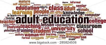 Adult Education Word Cloud Concept. Vector Illustration On White