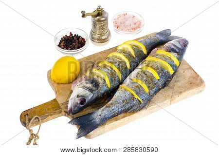Dicentrarchus Labrax Fish With Lemon For Cooking.
