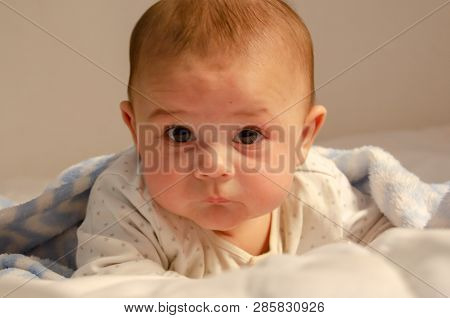 Cute 4 Months Old Baby Boy Having Tummy Time On White Quilt Covered With Blue Blanket