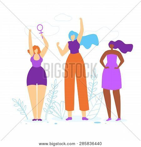 Young Girls With Hands Up. Diverse International And Interracial Women. Female Power Symbol In Hand,