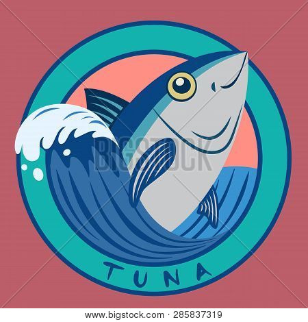 Tuna Fish Seafood On Blue Wave Circle Logo With Free Handwritten Text On Pink Color Background Carto