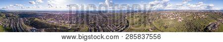 360 degree aerial panorama of Folsom California and Folsom Lake.