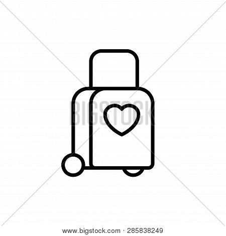 Tow Trolly Bag With Love Icon. Honeymoon Holiday Travel Illustration. Simple Clean Monoline Symbol.