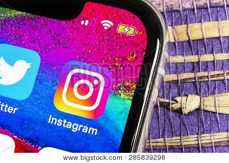 Sankt-petersburg, Russia, February 17, 2019: Instagram Application Icon On Apple Iphone X Smartphone