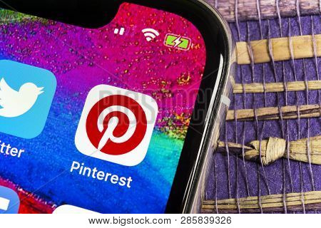Sankt-petersburg, Russia, February 17, 2019: Pinterest Application Icon On Apple Iphone X Smartphone