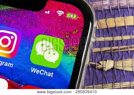Sankt-petersburg, Russia, February 17, 2019: Wechat Messenger Application Icon On Apple Iphone X Sma