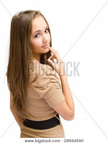 Gorgeous Brunette Gesturing.