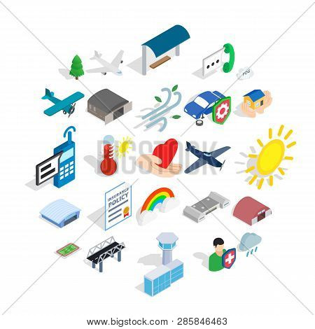 Airborne Icons Set. Isometric Set Of 25 Airborne Vector Icons For Web Isolated On White Background