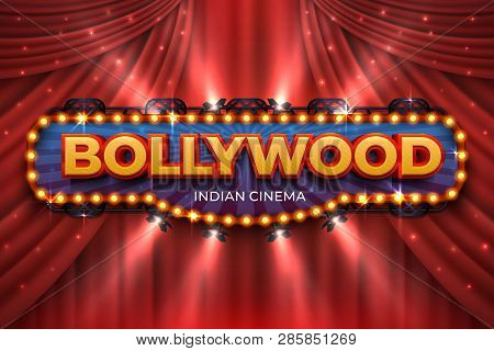 Indian Cinema Background. Bollywood Film Poster With Red Drapes, 3d Realistic Movie Award Stage. Blu