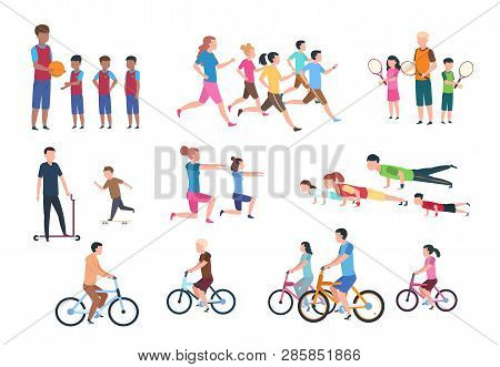 Physical Activity. People Flat Fitness Set With Parents And Children In Sport Activities. Isolated A