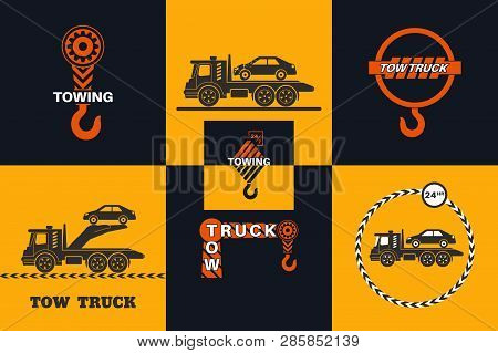Set Of Tow Truck Icon. Round The Clock Evacuation Of Cars. Design Can Be Used As A Logo, A Poster, A