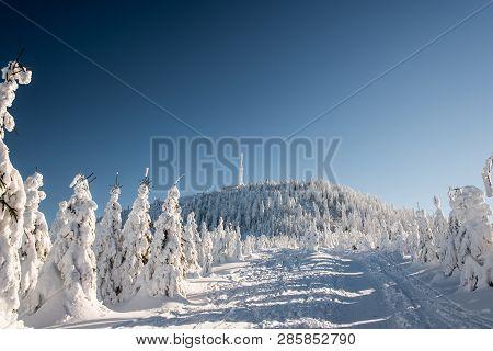 Lysa Hora Hill In Winter Moravskoslezske Beskydy Mountains In Czech Republic With Hiking Trail, Froz