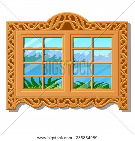 The Wooden Window Overlooking Of The Forest In Summer Isolated On White Background. Vector Cartoon C