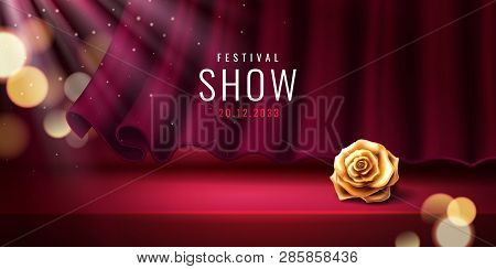 Theater Stage And Red Curtain For Festival Banner Template. Theatre Background With Flower For Event