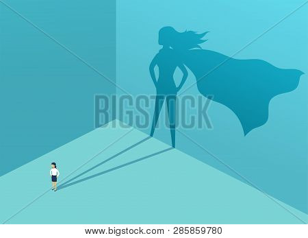 Businesswoman With Shadow Superhero. Super Manager Leader In Business. Concept Of Success, Quality O