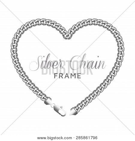 Silver Chain Heart Love Border Frame Template. Wreath Shape With A Lobster Claw Clasp Lock. Jewelry
